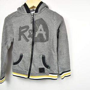 Gray full zip hoodie  with contrasting ribbing 4T
